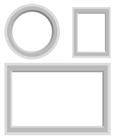 Simple frames set with strict border of round, rectangular and square shape isolated on white. Minimalist empty frameworks collection vector illustration. Plain framing for photos, interior decoration Çizim