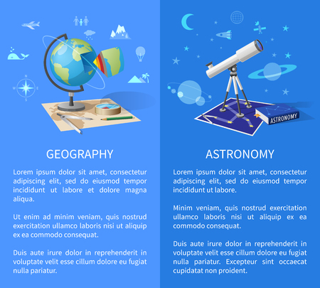 Geography and Astronomy Classes Informative Page Illustration