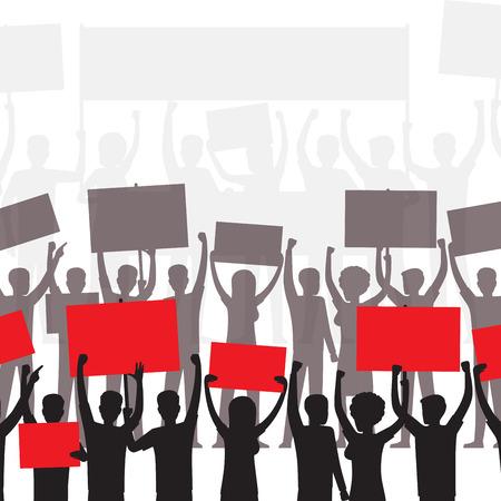 Personas en siluetas de demostración con carteles o carteles en blanco. Manifestantes o manifestantes con pancartas brillantes sobre cabezas ilustración vectorial plana para anuncios sociales