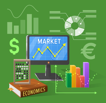Market and economics isolated vector illustration on green. Cartoon style computer screen, various charts, textbook with counting frame and icons of currencies