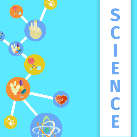 Science trendy inventions in healthcare and medicine colorful vector poster. Useful thing created by experiments for curing diseases banner design