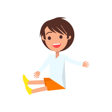 Joyful boy with brown medium length hair wearing sweater, orange shorts, yellow shoes isolated vector illustration on white background