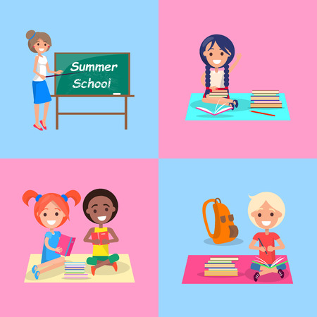 Summer school set of posters. Vector illustration of smiling teacher and cheerful children studying during their summer vacation on blue and pink