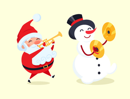 Santa playing on trumpet, snowman with drum ymbal musical instrument vector illustration with cartoon winter characters isolated on white background