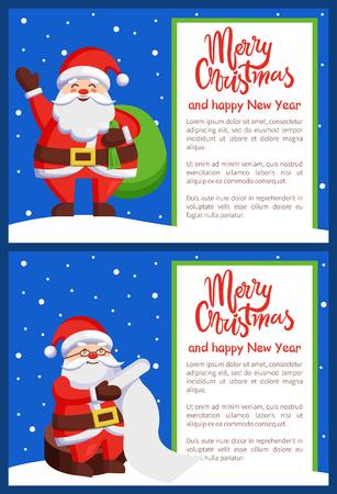 Merry Xmas and Happy New Year Postcard Santa Claus