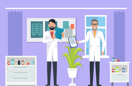 Doctors at room, specialist with notebook talking to new doc, room with x-rays and medical bottles, window and plant on vector illustration