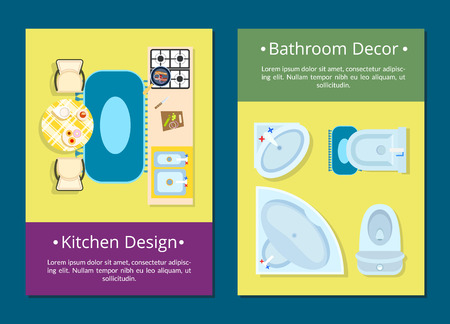Kitchen design and bathroom decor web pages set with icons of stove, table and chairs, sink and toilet and text sample vector illustration Illustration