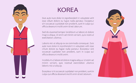 Korea representatives of culture and customs, man and woman in traditional outfit vector international day, ethnic people with text, native koreans