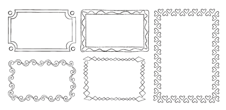 Collection of frames with round swirls, rectangular frames with triangle elements vector illustration in flat design. Vintage ornamental frames in linear graphic style isolated on white background.