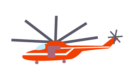 Closeup red helicopter isolated on white vector illustration in graphic design. Fast mean of transportation for travelling by air. Ilustração