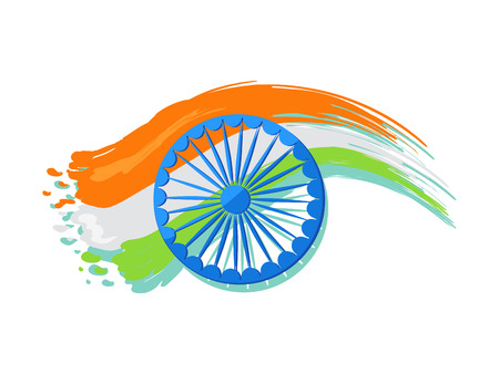 India poster logo design, 15 August Indian Independence Day greeting vector poster in graphic design with colorful national flag on background Stock Vector - 92171765