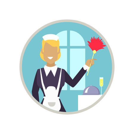 Smiling woman with cleaning staff working in neat hotel room. Vector illustration of icon with housekeeper isolated on white background Illustration