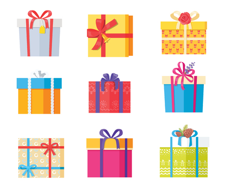Big collection of present gift boxes in color wrapping paper, decorated by bows, pine cones, rose flowers, taped by ribbons, top and front view icons