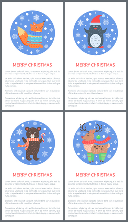 Animal set of icons, fox in sweater, penguin in hat, bear in scarf and deer in green socks, images in circles with snowflakes vector illustration