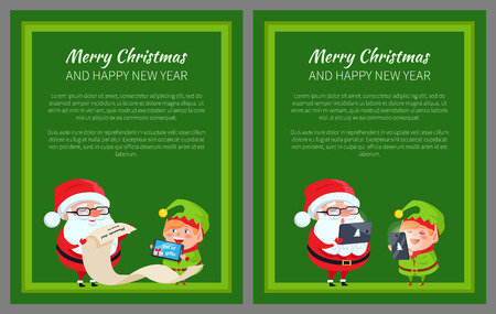 Merry Christmas and Happy New Year posters Santa and Elf reading wish list on paper scroll, communicating on digital tablet and smartphone vector