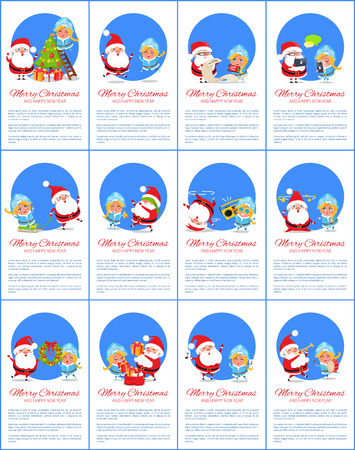 Merry Christmas and happy New Year, set of placards with text below images of Santa Claus and Snow Maiden doing work isolated on vector illustration Illustration