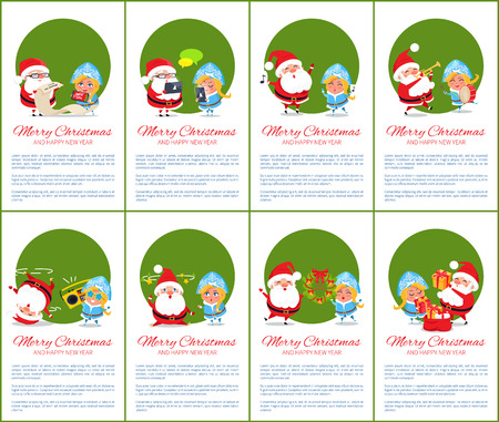 Merry Christmas and happy New Year, set of green posters with text sample and Santa with Snow Maiden selecting presents, vector illustration