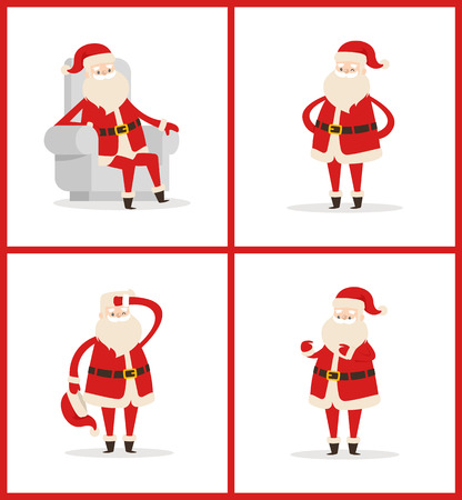 Santa Claus set of posters isolated on white background. Vector illustration with Christmas character in traditional red costume in light big chair