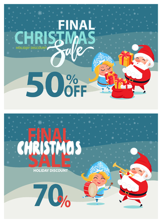 Final Christmas sale holiday discount 50, 70% off poster Santa and Snow Maiden put presents into sack, playing musical instruments winter landscape Illustration