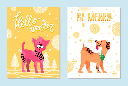 Hello winter and be merry festive cards with dogs of pure breeds. Pink Chinese crested puppy and weimarer with neckerchief vector illustrations.