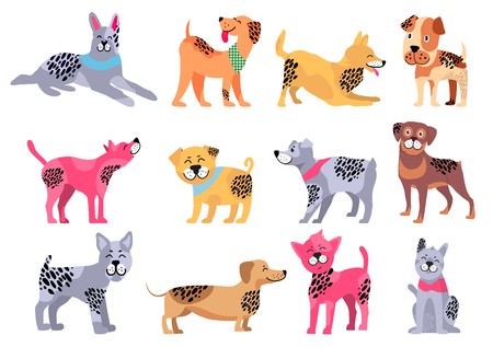 Domestic dogs of pure breeds big isolated cartoon vector illustrations set on white background. Animal symbol of 2018 year by Chinese calendar. Illustration