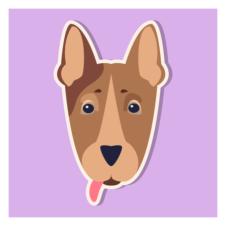 A Doggie Face of Bull Terrier Close-up Cartoon Image