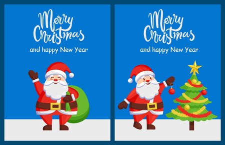 Merry Xmas and Happy New Year poster with Santa Claus decorating tree by color ball. Christmas Father with bag greets you vector illustration postcard Ilustração