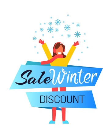 Sale winter discount, woman wearing scarf and warm clothes with raised hands, lady in good mood because of snow and sale vector illustration Ilustração