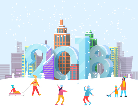 New Year 2018 coming to city poster with people in snowy wintertime park. Vector illustration with cityscape with 2018 digits hiding between buildings