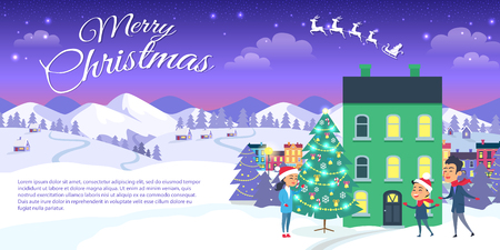 Vector illustration of green three storey house with lights and people waiting for miracle. Merry Christmas on city and blue sky background. Happy family is outside near decorated Christmas tree.