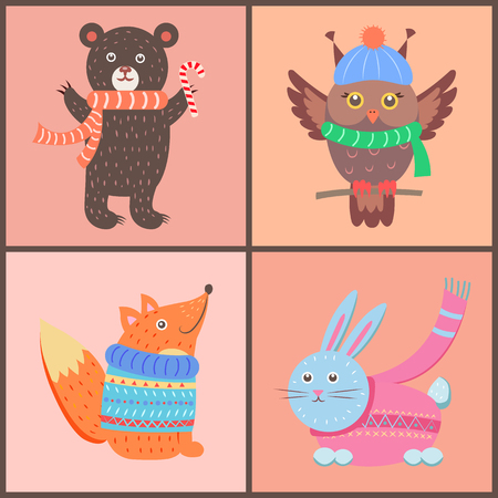 Collection of cute posters, bear holding candy, owl wearing hat and scarf, fox and rabbit dressed in sweaters on vector illustration