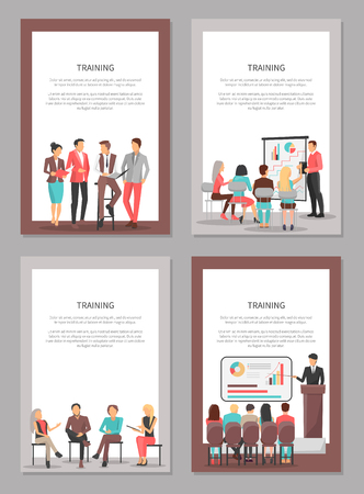 Training Business Vector Posters Set of Coworkers