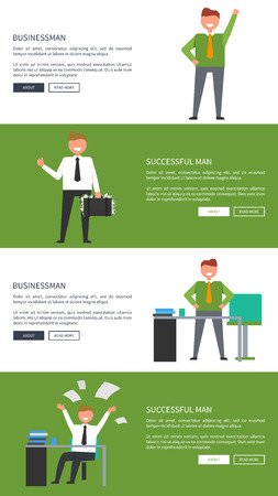 Businessman and successful man collection cartoon style banners with inscriptions. Isolated vector illustration of smiling adult males busy at work