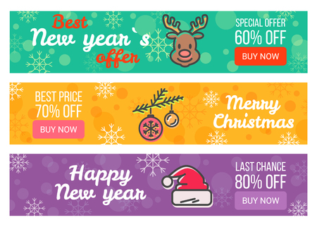 Three Sale Posters Special Offer Merry Christmas