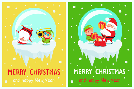Happy New Year Merry Christmas Santa and Elf on icy cliff dance at cute music with retro tape recorder, put gift boxes into red sack cartoon characters Ilustração