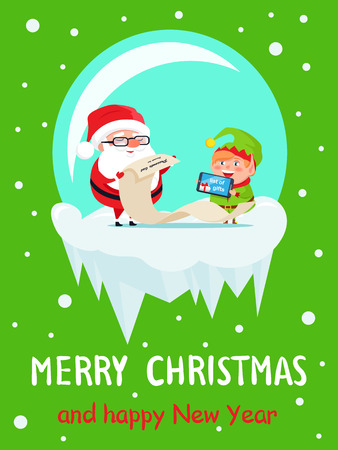 Merry Christmas and Happy New Year gifts list, Santa and Elf are reading wishes in glass bowl, vector illustration isolated on green with snowfall Illustration