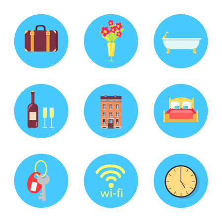 Old-fashioned suitcase, flower in vase, ceramic bath, wine bottle, brick building, soft bed, room key, wifi icon and round clock vector illustrations. Ilustração