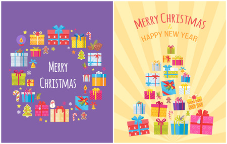 Merry Christmas Happy New Year posters present boxes and Xmas symbols as tree, candy stick, golden bell, gingerbread boy, burning candle, snowflakes 向量圖像