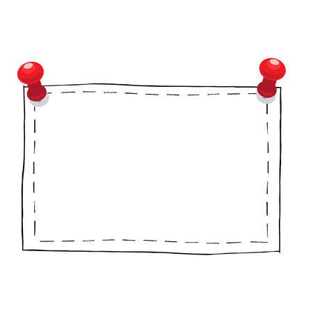 Simple square black outlined frame with red pushpins isolated on white background. Plain and creative framework to add photo or image to big inspiring decorative collage vector illustration. Reklamní fotografie - 92173750