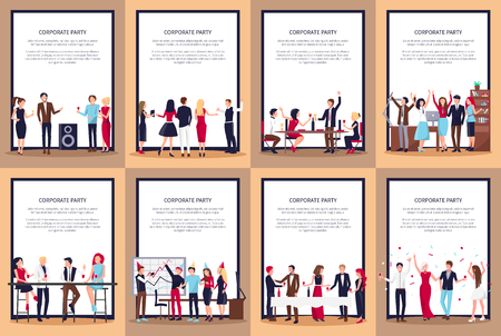 Corporate party set of posters with of successful business company people partying and celebrating in office or dancing in club vector in frame with text Illustration