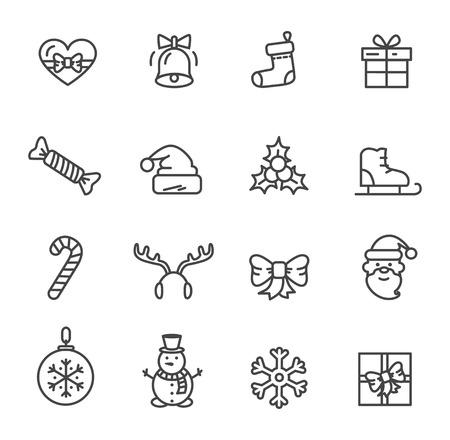 白い背景に隔離されたアイコンのクリスマスのテーマセット。●心をあしらったベクトルイラストは弓で飾られ、ベルを鳴らし、かわいい笑顔の雪  イラスト・ベクター素材
