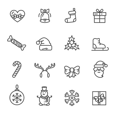 Christmas theme set of icons isolated on white background. Vector illustration with heart decorated with bow, ringing bell and cute smiling snowman