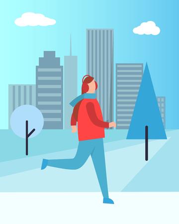 Woman in Earphones Running in Warm Winter Cloth Illustration