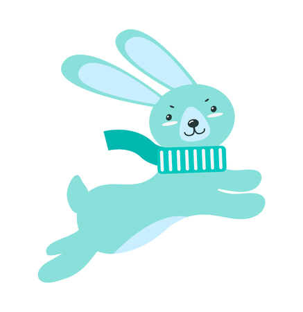 Fluffy rabbit with long ears and small tail in warm scarf jumps up isolated vector illustration on white background. Funny Christmas forest animal.