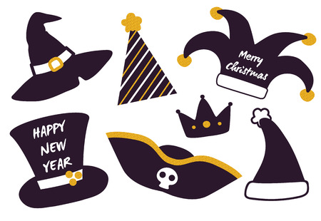 Merry Christmas happy New Year set of festive hats isolated on white. Vector illustration with witch hat, pirate one and Santa s headwear for xmas party