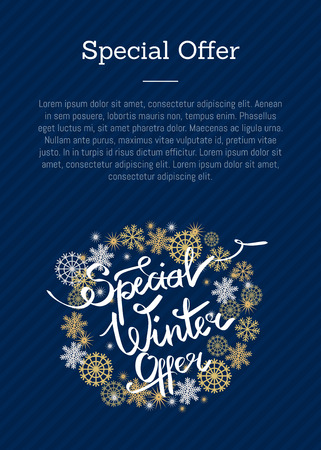 Special winter offer poster with text, decorative frame made of silver and golden snowflakes, snowballs of gold in x-mas border isolated on blue vector