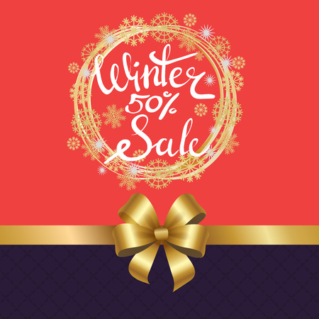 Winter sale 50 poster in decorative frame made gold snowflakes and circles, snowballs in x-mas border isolated pink and purple divided by golden ribbon Stok Fotoğraf - 92174458