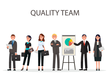 Quality team of best managers with diagram and chart on placard on white background vector illustration flat design of businessmen