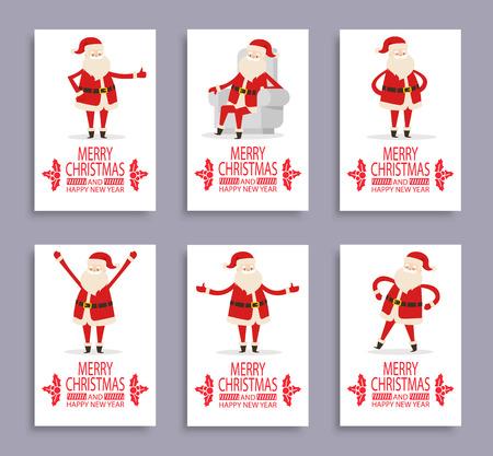 ハッピーニューイヤーとメリークリスマスサンタは、6つの光のポスターのセットでおめでとうございます。白い背景におとぎ話の冬の文字とベクタ