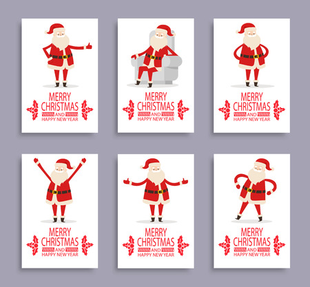 Happy New Year and merry Christmas Santa congrats on set of six light posters. Vector illustration with fairytale winter character on white background